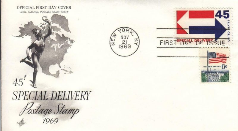 1969, 45c Special Delivery, Artcraft, FDC (D14528)