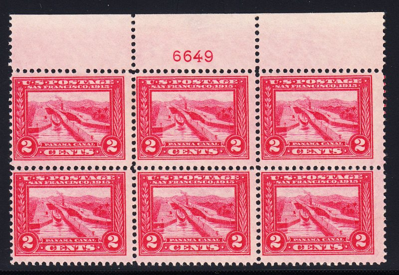 US #398 Fine+ NH Plate block of 6.