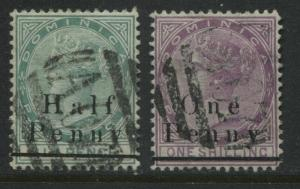 Dominica QV 1886 overprinted 1/2d and 1d used