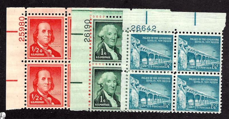 1030,1031,1031A Mint,OG,NH... (3) Plate Blocks of 4