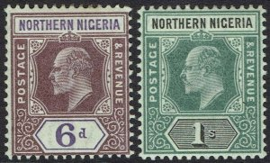 NORTHERN NIGERIA 1902 KEVII 6D AND 1/- WMK CROWN CA