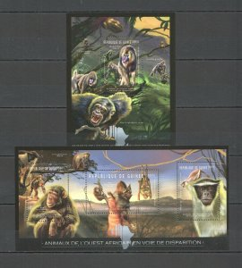 BC031 2012 GUINEA FAUNA EXTINCTION AFRICAN WILD ANIMALS 1KB+1BL MNH