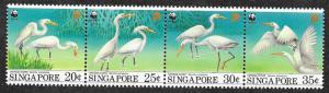 Singapore 670-673a Mint NH MNH WWF Chinese Egret!