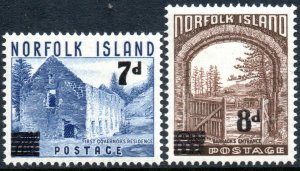 1958 Norfolk Island Sg 21/22 Definitive Surcharged Mounted Mint