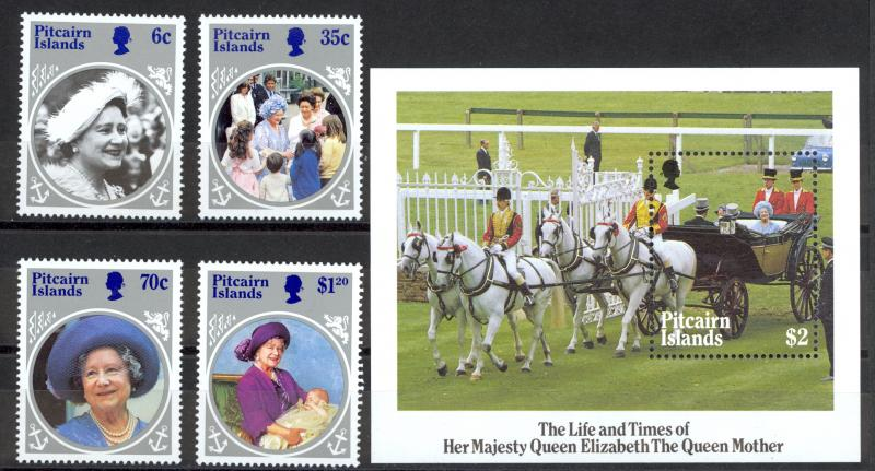 Pitcairn Islands Sc# 253-257 MNH 1985 Queen Mother 85th Birthday