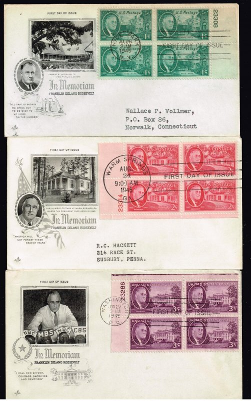US STAMP FDC # 930-2 – 1945  Roosevelt and Hyde Park PL# BLK OF 4