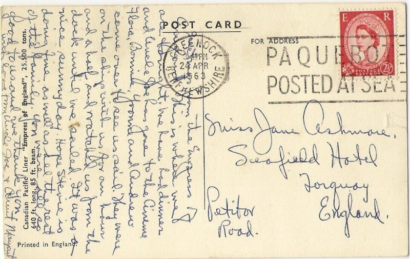 1963 GREENOCK RENFREWSHIRE PAQUEBOT POSTED AT SEA Empress of England