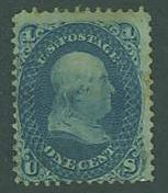 USA SC#63b Franklin, 1c, dark blue, light cancel
