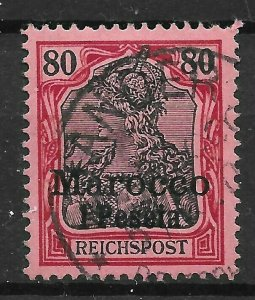 GERMAN P.O.'s IN MOROCCO SG15 1900 1p ON 80pf BLACK & CARMINE ON ROSE USED