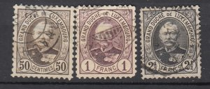 J25723 JLstamps 1891-93 luxembourg used #66-8 grand duke