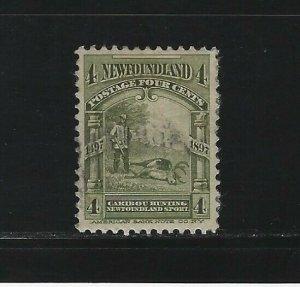 NEWFOUNDLAND - #64 - 4c CARIBOU HUNTING USED STAMP