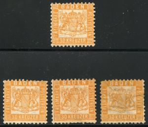 GERMANY STATES BADEN SCOTT# 25 MICHEL# 22 1 HINGED & 3 NO GUM  AS SHOWN