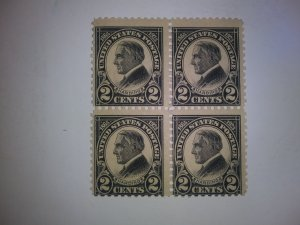 SCOTT # 610 MINT NEVER HINGED BLOCK OF 4 TOP OF SHEET !!!!