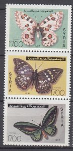 J28852, 1994 syria set strip/3 mnh #1318 butterflies