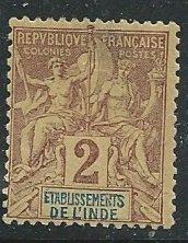 French India ||  Scott # 2 - MH