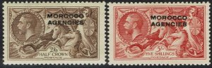 MOROCCO AGENCIES 1935 KGV SEAHORSES 2/6 AND 5/-