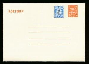 NORWAY Mi. K39 POSTAL STATIONERY LETTER CARD 25+100o
