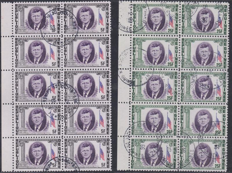 Guinea 325 327 C56 John F Kennedy Used Wholesale Lot Of Ten 10 Cat HipStamp