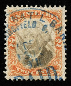 B434 U.S. Revenue Scott R135 3rd issue 2c orange & black, bank handstamp cancel