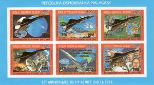 Madagascar 1996 Sc#1304A CONCORDE/HALLEY'S COMET Compound SS ovpt.Gold IMPERF(6)