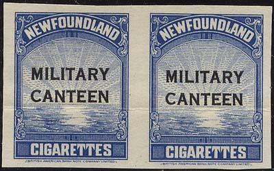 Newfoundland - Military Canteen Imperf. Pair #TB50a