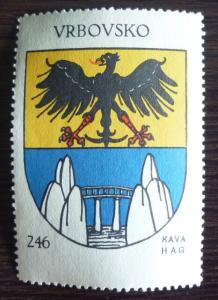 1930 YUGOSLAVIA-CROATIA-COFFE POSTER STAMP R! coat of arm bridge eagle bird J43