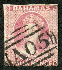 Bahamas SG5 4d Dull rose No Wmk Rough Perf 14 to 16 cat 400 pounds