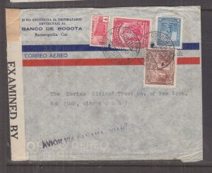 COLOMBIA, 1942 Censored Airmail cover, Bogota to USA, 1/2c., 5c.(2), 30c.