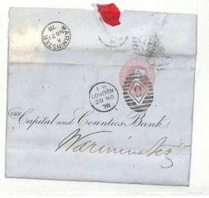 GB PENNY PINK BANKING LETTERSHEET Stationery Superb London *9* Duplex 1878 AD46