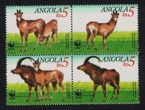 Angola WWF Giant Sable Antelope 4v in block 2*2 SG#926-929 MI#799-802 SC#781-784