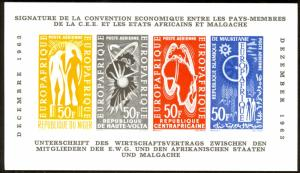 EUROPAFRIQUE 1963 Airmail Color Proof Card NIGER UPPER VOLTA CAR MAURITANIA MAPS