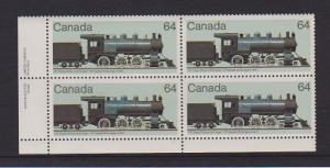 CANADA PLATE BLOCK MNH STAMPS #1039. LOT#PB510
