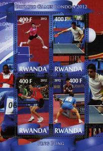 Rwanda Ping Pong Sport Olympic Games London 2012 Souvenir Sheet of 4 Stamps Mint