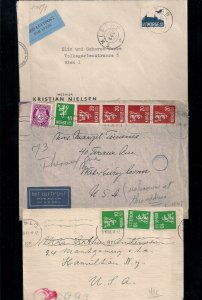 THREE NORWAY WWII CENSOR covers: 1940-2 early incl AIRMAIL w #C3 Scarce Group!!