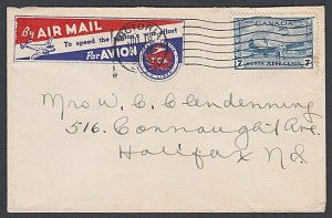 CANADA 1945 Trans Canada Air Lines label on cover Victoria to Halifax.......K677