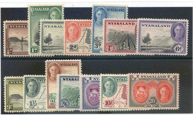 Nyasaland SG144/157 Mounted Mint