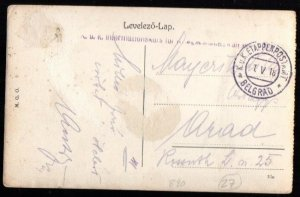 Austrian Occ. Serbia: 1918 ppc to Arad from Belgrade with censor