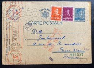 1942 Bucharest Romania Postcard Censored Cover To Paris France Judaica