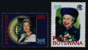 Botswana 739-40 MNH Queen Elizabeth Golden Jubilee, Flowers