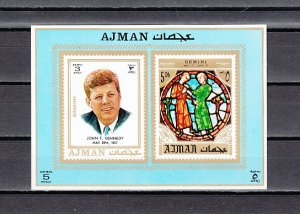 Ajman, Mi cat. 792, BL268 C. President J. Kennedy s/sheet. ^