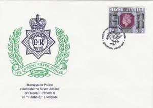 GBP133) FDC GB 1977, Merseyside Police celebrate the Silver Jubilee of Queen Eli