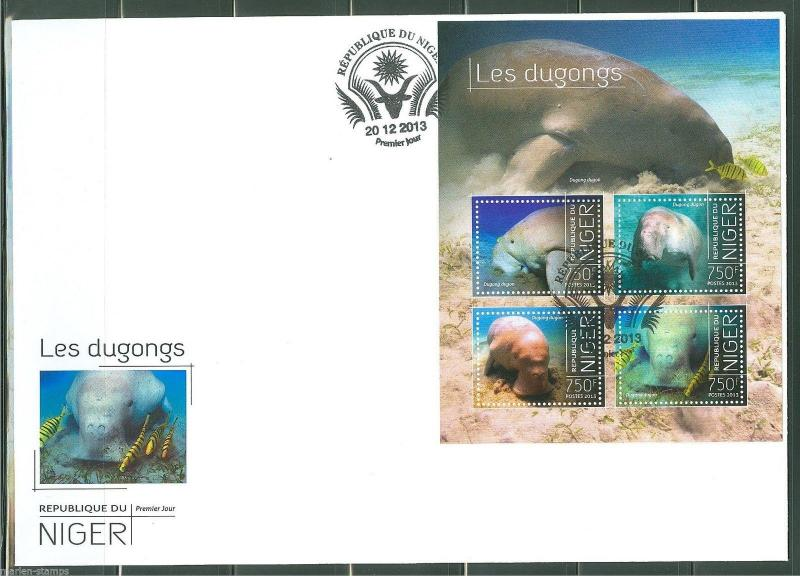NIGER  2013 DUGONGS  SHEET  FIRST DAY COVER