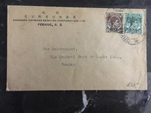 1940s Malaya Penang Oversea Chinese Banking Cover To Bombay India
