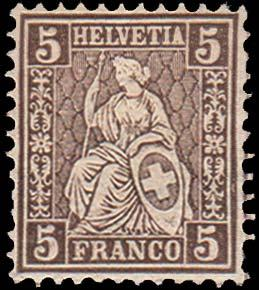 Switzerland Scott 43a Unused with thin and toned spots.