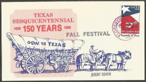 1986 US COVER.FLORESVILLE TX,FALL FESTIVAL,REPUBLIC OF TEXAS 22C STAMP