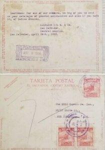 A) 1933, EL SALVADOR, POSTAL STATIONARY, NATIONAL GYM, LETTER SHIPPED TO NEW YOR