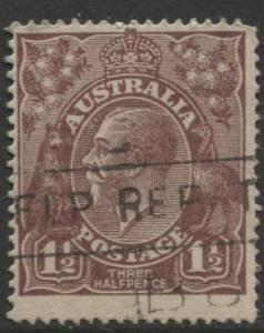 Australia - Scott 24a - KGV Head -1914 - FU - Wmk 9 - 1.1/2p Stamp