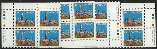 Canada - 1987 36c Parliament Blocks mint #926Biii Rolland Paper MS IBs VF-NH