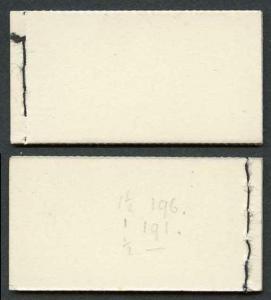 KGVI BD5 KGVI 1/- New Colours Booklet Both 1 1/2d Cyl 196 dot Both 1d Cyl 191 D