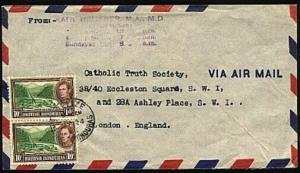 BR HONDURAS 1954 airmail cover to UK - GVI 10c pair Belize cds............91685A